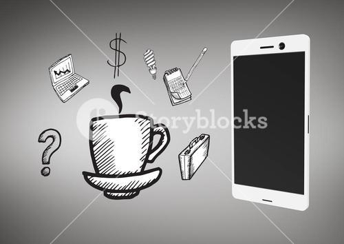 Phone against grey background with business icons graphic illustrations