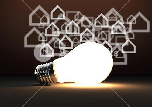 3D bulb against brown background with home icons