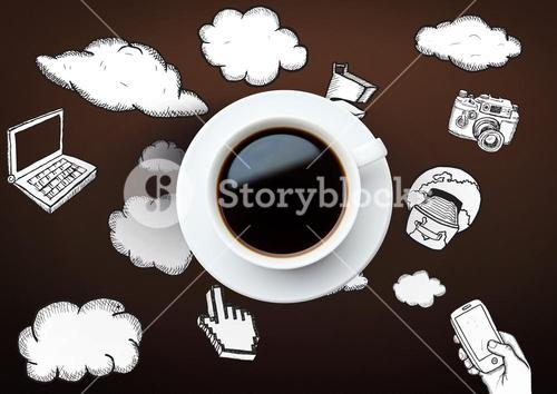 3D Coffee cup with technology icon drawings and clouds against brown background
