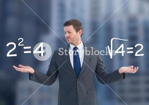 Man choosing or deciding math sums equations with open palm hands