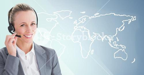 Travel agent with headset against white map and blue background