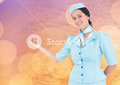 Stewardess against map with bokeh
