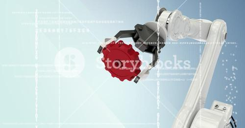 White robot claw holding red cog behind white interface against blue background