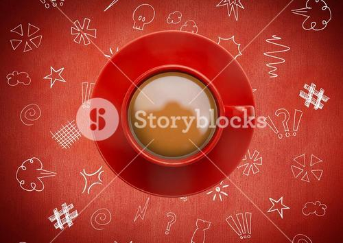 3D Coffee cup against red background with  graphic drawings