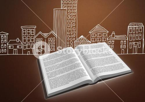 Book open against brown background with city buildings drawing graphic