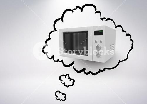 3D Microwave in thought cloud against grey background