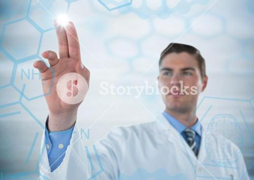 Man in lab coat pointing at blue medical interface with flare against grey background