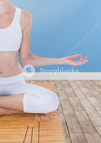 Woman Meditating peaceful in room
