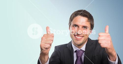 Business man two thumbs up against blue background
