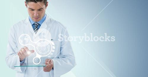 Man in lab coat with white interface and flare on glass device against blue background