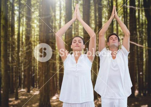 People Meditating yoga in forest
