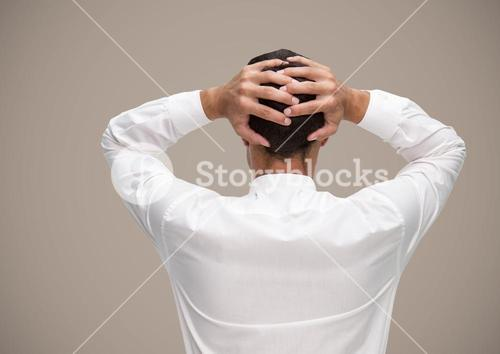 Stressed man against brown background