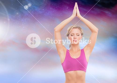 Woman yoga Meditating with purple clouds