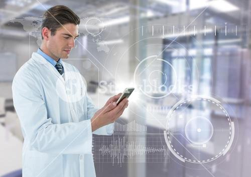 Man in lab coat with phone and flare against white interface and blurry lab