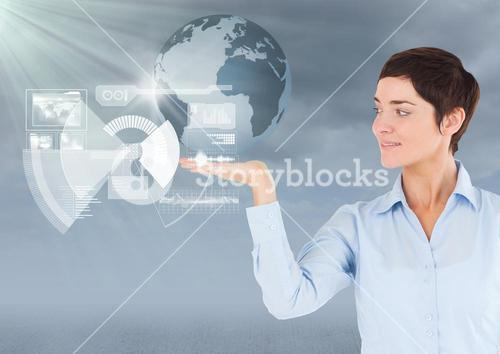 Woman with open palm hand under world earth globe interface
