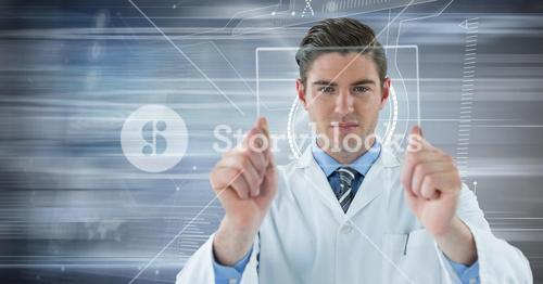 Man in lab coat holding up glass device against motion blur
