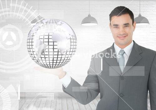 Man with open palm hand holding globe of world earth globe with interface