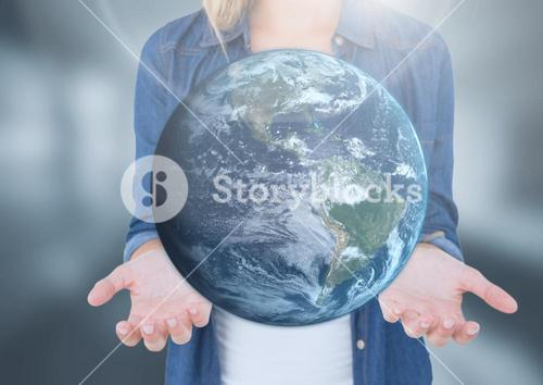 Womans open palm hands holding world earth globe