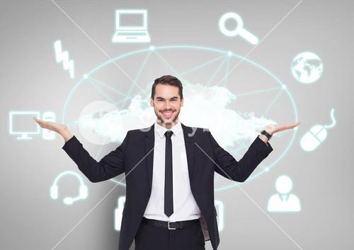 Man choosing or deciding with open palms hands network connected technology icons