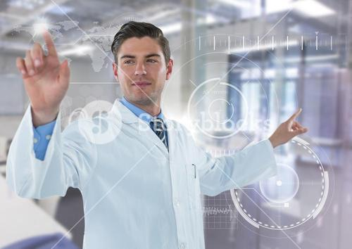 Man in lab coat pointing with flare against white interface and blurry lab