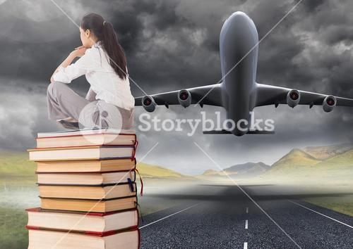 Business woman sitting on Books stacked by plane take off runway
