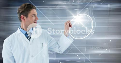 Man in lab coat with glass device against flare and motion blur