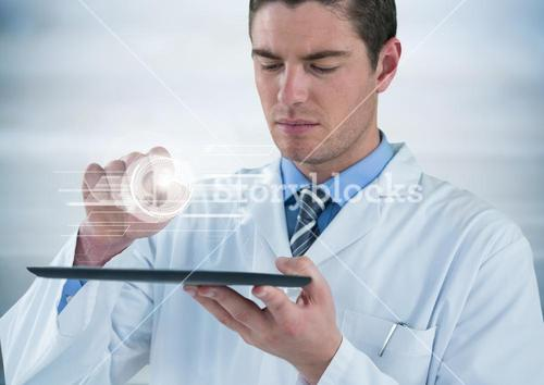 Man in lab coat with tablet and white interface with flare against grey background