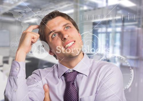 Man in lavendar shirt scratching head against white interface and blurry room