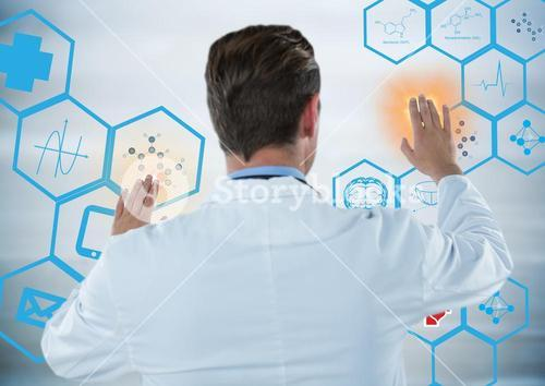 Back of man in lab coat touching blue medical interface with orange flares against grey background