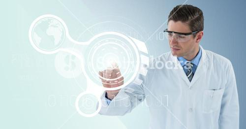 Man in lab coat and goggles pointing at white interface and flare against blue background