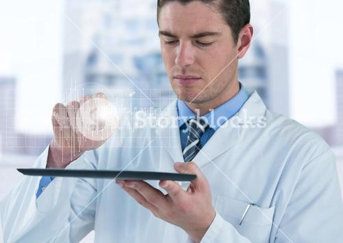 Man in lab coat with device and white graph with flare against blurry building