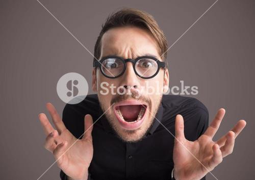 Stressed man hysterical with purple background