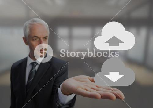 Old Businessman with open palm hands holding upload download cloud icons