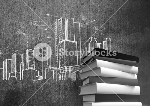 3D Books stacked by city buildings drawings