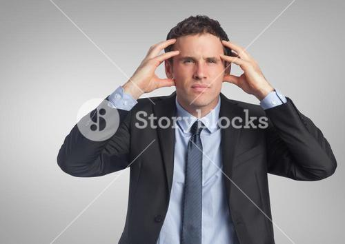 Stressed businessman with grey background