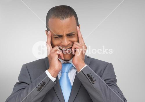 Stressed man against grey background