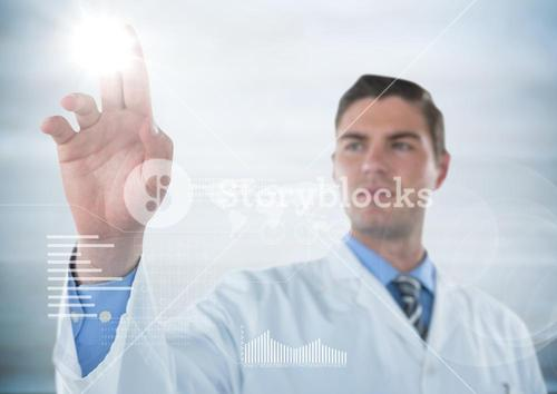 Man in lab coat touching flare with white interface against blurry grey background