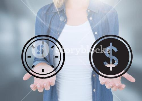 Womans open palm hands holding time and money dollar icons
