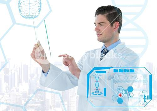Man in lab coat holding up glass device behind blue medical interface against white skyline