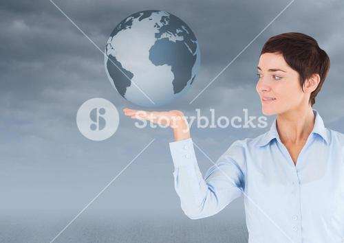 Woman with open palm hand under world earth globe