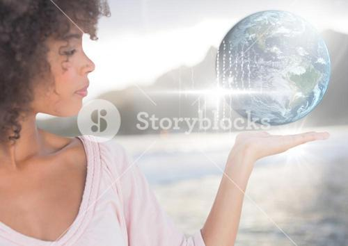 Woman with open palm hand holding world earth globe interface
