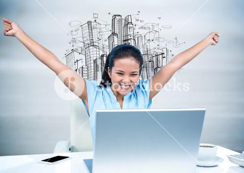 Woman at Desk with hands in air against sketch of buildings and blurry grey wood panel