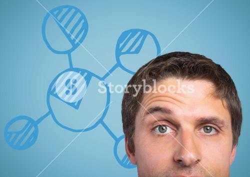 Top of man's head against blue graph and background