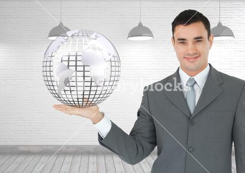 Man with open palm hand holding globe of world earth