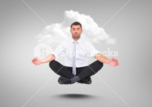 Businessman Meditating floating with cloud against grey background