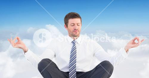 Man Meditating peaceful in clouds