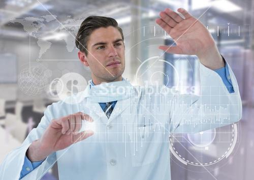 Man in lab coat behind white graph and flare against white interface and blurry lab