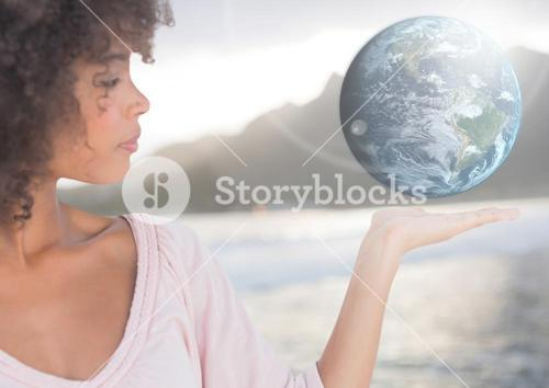 Woman with open palm hand holding world earth globe