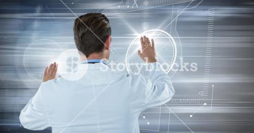 Back of man in lab coat with flares on hands against motion blur