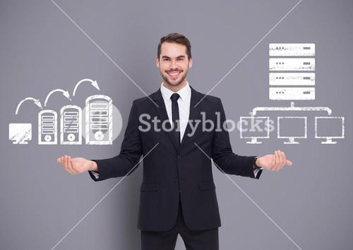 Man choosing or deciding with open palms hands computers servers icons